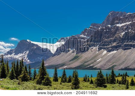Crowfoot Mountain and its glacier near Bow Lake in Canadian Rockies, Banff National Park.