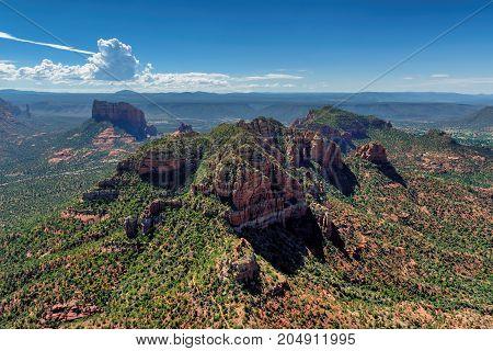 Aerial view on Rock formations at Sedona, Arizona.