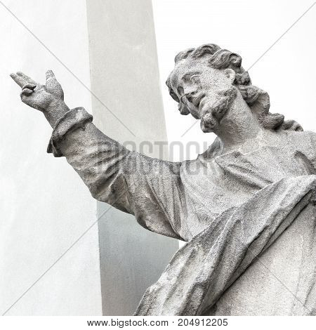 Old marble statue of God or Jesus