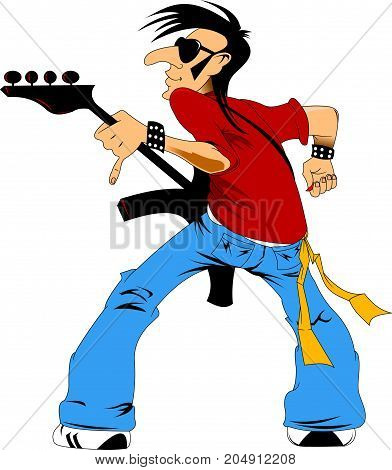 rock musician with a guitar jumping on stage vector
