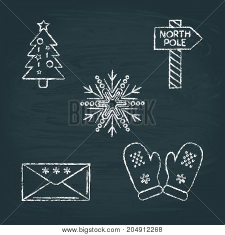 Collection of chalk sketch New Year icons on blackboard. Christmas tree, North Pole signpost, snowflake, holiday mail and knitted mittens.