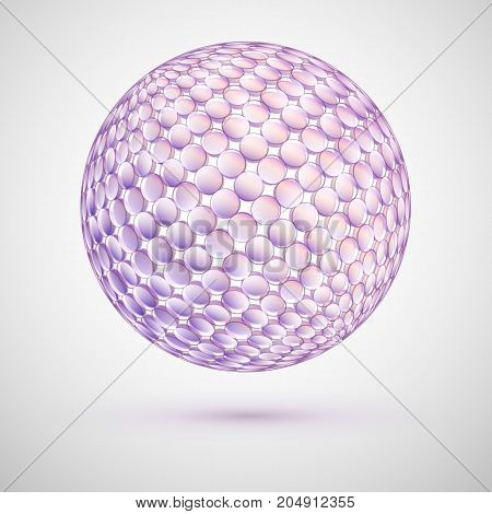Delicate 3d Sphere of Pastel Colors. Geometric Abstract Three-Gimensional Figure.