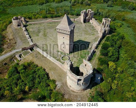 Air view of medieval Bac fortress in Serbia province Vojvodina