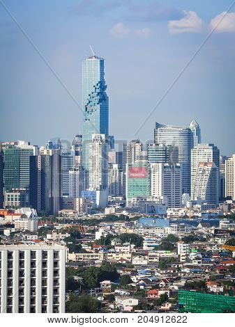 BANGKOK THAILAND - June 2, 2017: Mahanakhon building skyscraper. Cityscape view of Bangkok modern office business building, Bangkok is capital city of Thailand