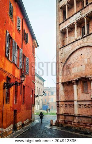 Old lane in Parma Emilia-Romagna Italy. Architecture
