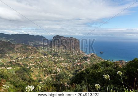 Eagles Rock and Porto da Cruz on the north coast of Madeira Portugal