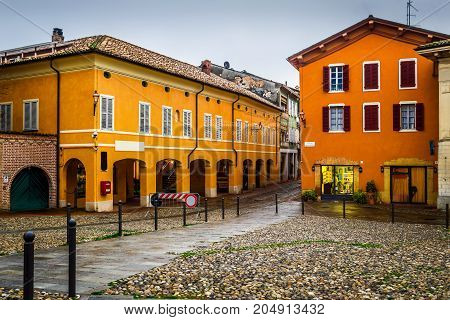 Houses On The Square In Medieval Town Of Fontanellato