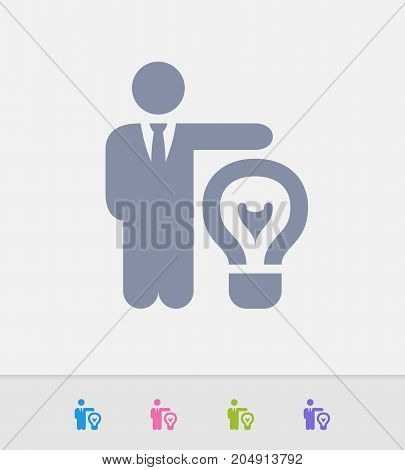 Businessman & Light Bulb - Granite Icons. A professional, pixel-perfect icon designed on a 32 x 32 pixel grid and redesigned on a 16 x 16 pixel grid for very small sizes.