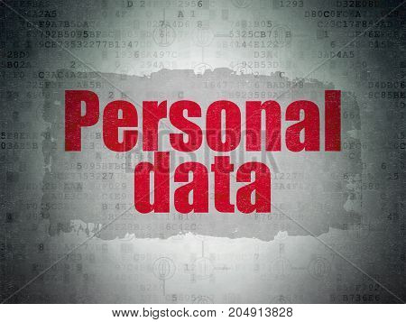 Data concept: Painted red text Personal Data on Digital Data Paper background with  Scheme Of Binary Code