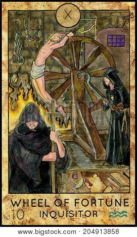 Wheel of Fortune. Inquisitor. Fantasy Creatures Tarot full deck. Major arcana. Hand drawn graphic illustration, engraved colorful painting with occult symbols