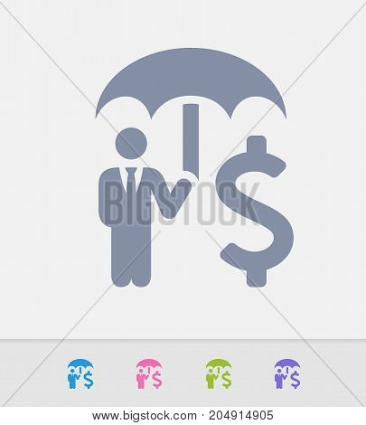 Businessman Holding Umbrella - Granite Icons. A professional, pixel-perfect icon designed on a 32 x 32 pixel grid and redesigned on a 16 x 16 pixel grid for very small sizes.