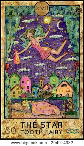 Star. Tooth fairy. Fantasy Creatures Tarot full deck. Major arcana. Hand drawn graphic illustration, engraved colorful painting with occult symbols
