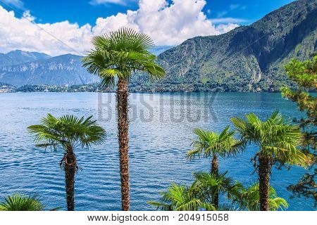 Como Lake Surrounded By Alpine Mountains, Italy.