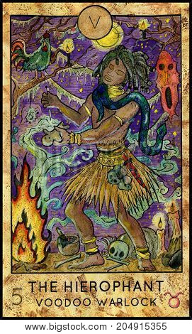 Hierophant. Voodoo warlock. Fantasy Creatures Tarot full deck. Major arcana. Hand drawn graphic illustration, engraved colorful painting with occult symbols