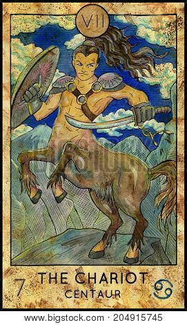 Chariot. Centaur. Fantasy Creatures Tarot full deck. Major arcana. Hand drawn graphic illustration, engraved colorful painting with occult symbols