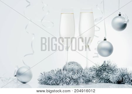 Glasses Of Champagne And Christmas Toys