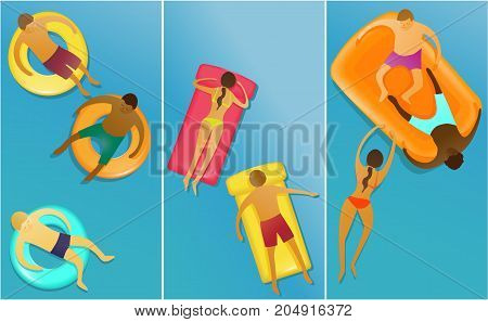 Three banners with peple enjoying swimming - vector illustration
