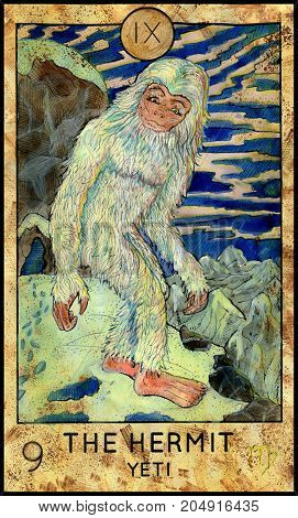 Hermit. Yeti or Bigfoot. Fantasy Creatures Tarot full deck. Major arcana. Hand drawn graphic illustration, engraved colorful painting with occult symbols