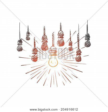 The best idea concept. Hand drawn lamps, one of them is shining. Luminous lamp the symbol of idea or solution isolated vector illustration.