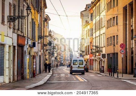 Old street in Parma Emilia-Romagna Italy. Architecture