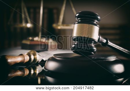 Court Gavel, Scale Of Justice, Law Theme.