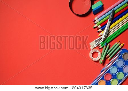 School And Office Stationery, Red Background, Copyspace