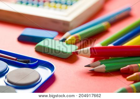 Back To School Concept With Stationery And School Supplies.