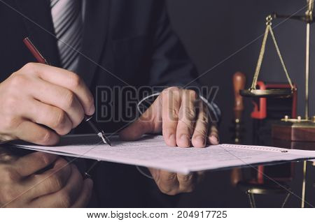 Attorney In Suit Working In Office