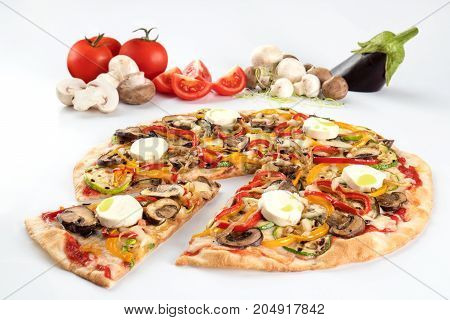 Pizza with mushrooms and mozzarella with its ingredients in the white background