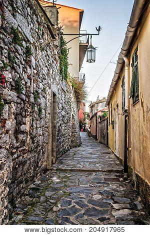 Ancient narrow lane in Portovenere Liguria Italy.