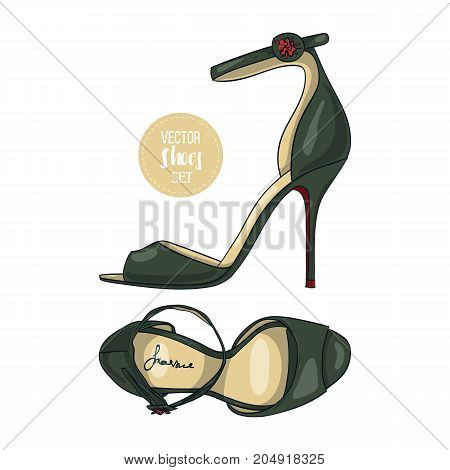 Vector color womens sandals with stiletto heel and a thin ankle strap