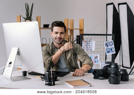 Photographer With Graphics Tablet