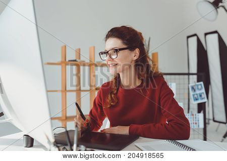 Designer Working With Graphics Tablet