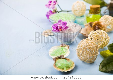 Spa Treatments On A Blue Wooden Table.