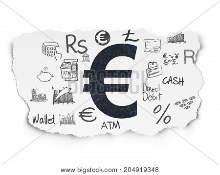 Money concept: Painted black Euro icon on Torn Paper background with  Hand Drawn Finance Icons