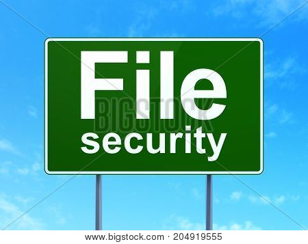 Privacy concept: File Security on green road highway sign, clear blue sky background, 3D rendering