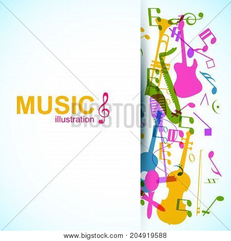 Music abstract design concept with colorful musical instruments and notes on light background vector illustration