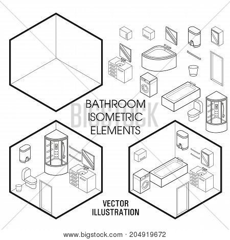 Isometric bathroom interior constructor. Vector set of isometric Furniture elements of home interior isolated on white background. Flat 3d design template.
