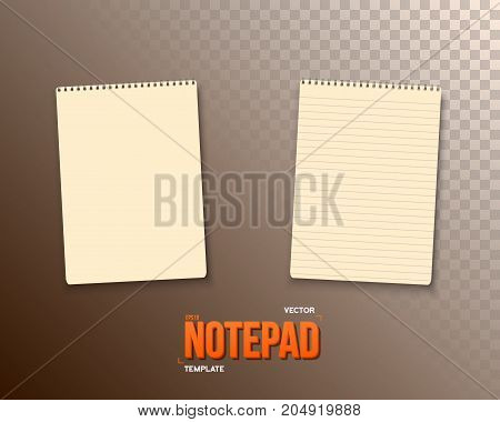 Illustration of Vector Notepad Set. Realistic Vector Empty Notepad Template. Open Spiral Notebook Mockup