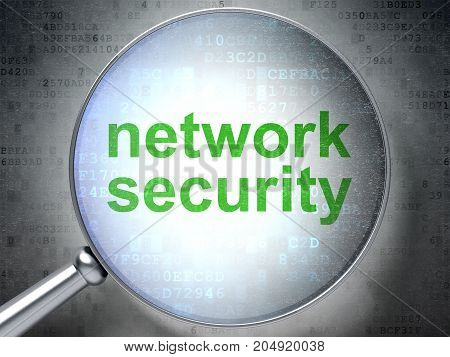 Protection concept: magnifying optical glass with words Network Security on digital background, 3D rendering