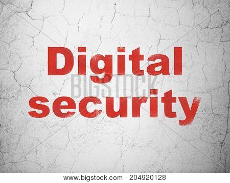 Safety concept: Red Digital Security on textured concrete wall background