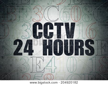 Protection concept: Painted black text CCTV 24 hours on Digital Data Paper background with Hexadecimal Code