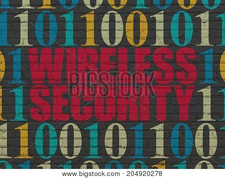 Safety concept: Painted red text Wireless Security on Black Brick wall background with Binary Code