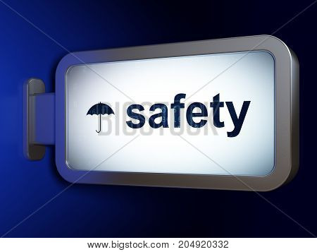 Security concept: Safety and Umbrella on advertising billboard background, 3D rendering