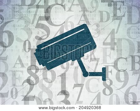 Security concept: Painted blue Cctv Camera icon on Digital Data Paper background with  Hexadecimal Code