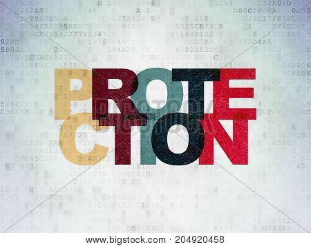 Safety concept: Painted multicolor text Protection on Digital Data Paper background