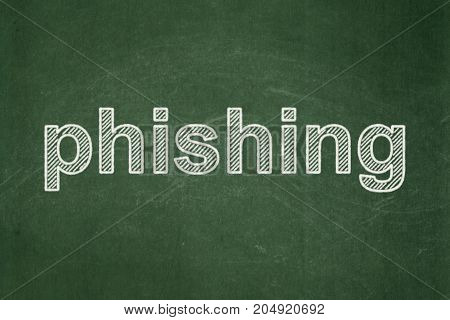 Security concept: text Phishing on Green chalkboard background