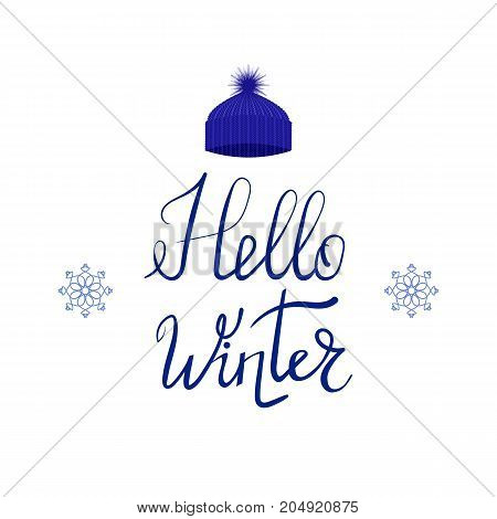 Hello Winter Typographic Poster with Blue Knitted Cap. Hand Drawn Phrase. Lettering on White Background