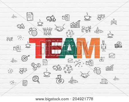 Business concept: Painted multicolor text Team on White Brick wall background with  Hand Drawn Business Icons