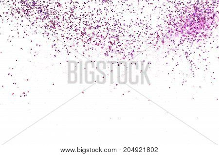 Purple glitter sparkles on the white background.
